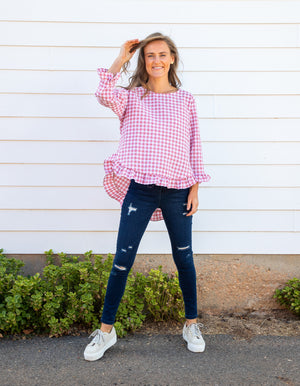 Maggie gingham top in Pink