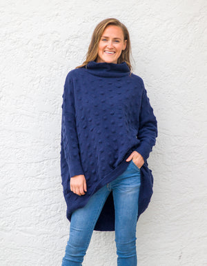 Theo knit jumper in Navy