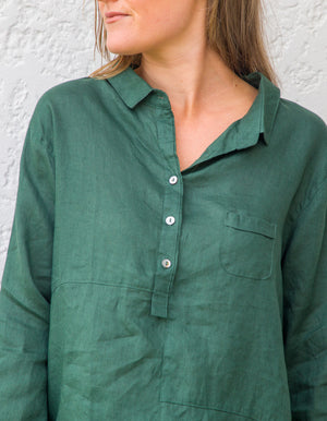 Ollie linen shirt in Emerald