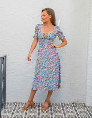 Dallas floral dress in Blue