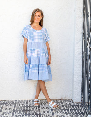 Alyssa gingham dress in Light Blue