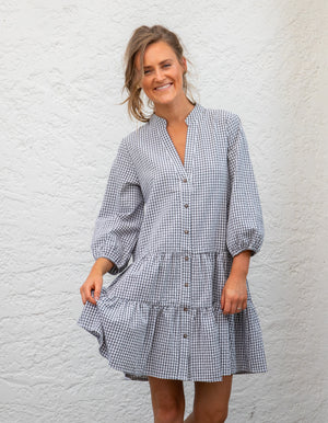 Georgia gingham dress in Black/White