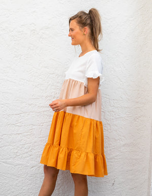 Zora dress in Orange, Beige & White