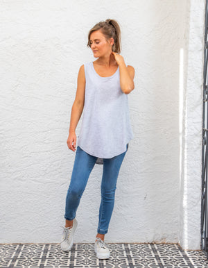 Ashton cotton tank in Grey Marle
