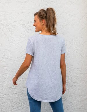 Tory cotton tee in Grey Marle