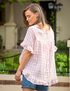 Louella gingham top in Pink/White linen