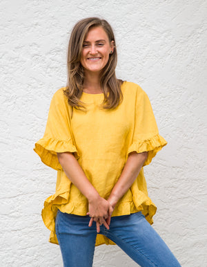 Show Off top in Yellow linen