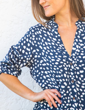 Livvie dress in navy print