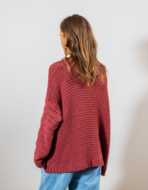 Staycation knit cardigan in Brick