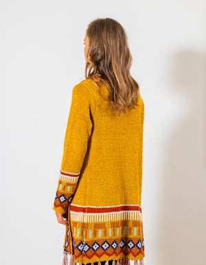Heart Beat knit cardigan in Mustard