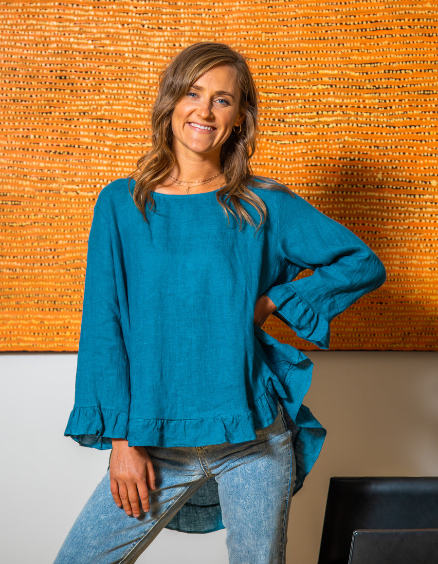 Beatrice linen top in Teal