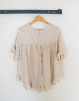 Show Off top in Beige linen