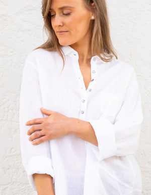 Grayson linen shirt in White