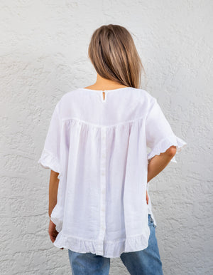 Show Off top in White linen