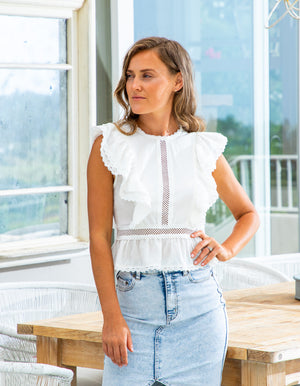 Claude ruffle top in White