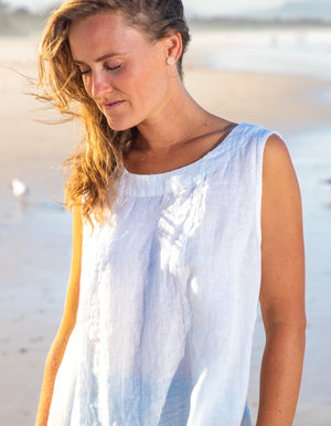 Easy Go linen top in White
