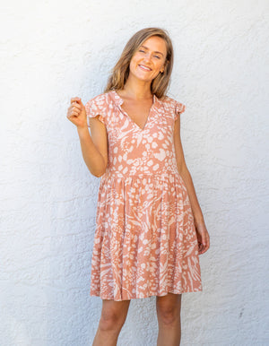 Mila dress in Terracotta print