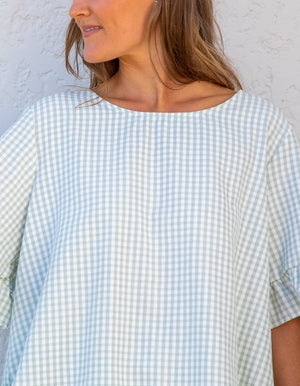 Kate gingham top in Sage & White