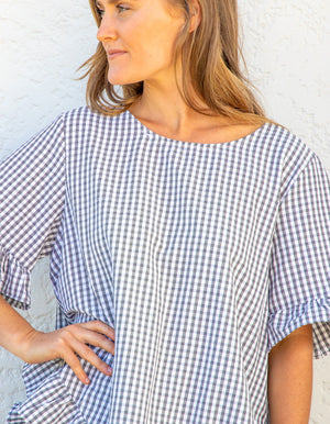Kate gingham top in Black & White