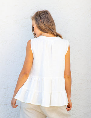 Olivia linen top in White