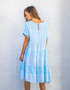 Victoria cotton dress in Blue & White gingham