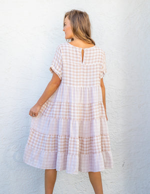Victoria cotton dress in Beige & White gingham