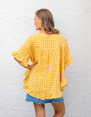 Louella gingham top in Yellow linen