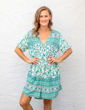 Valley dress in Green print