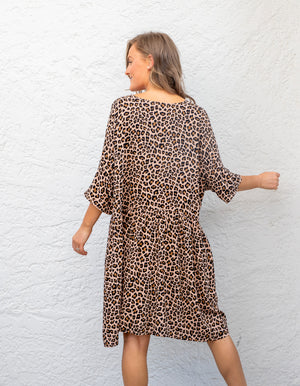 Karrie leopard dress in Tan & Black
