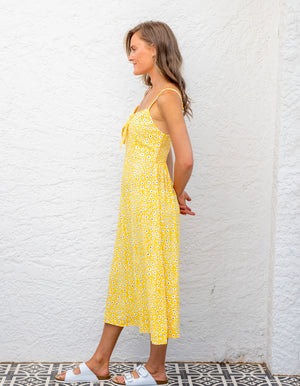 California floral dress in Yellow