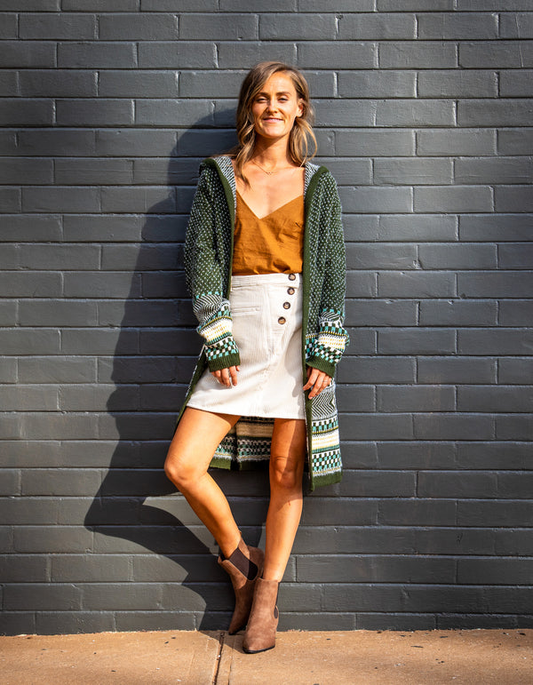 Two is Better knit cardigan in Khaki print