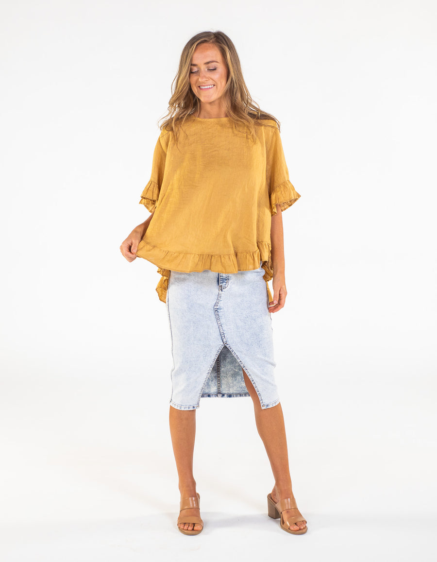 Show Off top in Mustard linen