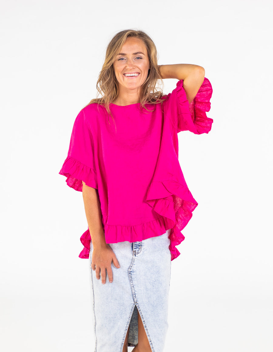 Show Off top in Hot Pink linen