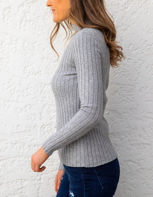 Emma ribbed knit jumper in Grey
