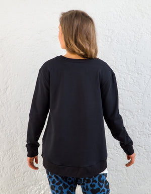 Heston cotton jumper in Black