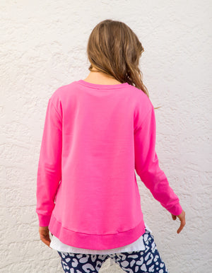Heston cotton jumper in Hot Pink