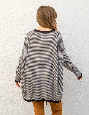 Venice stripe jumper in Black