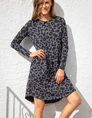 Jordan leopard dress in Gunmetal