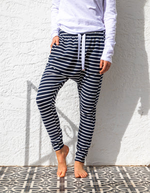 Billie stripe jogger pant in Navy