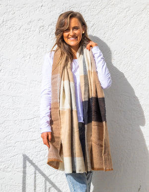 Billingham knit scarf in Cream print