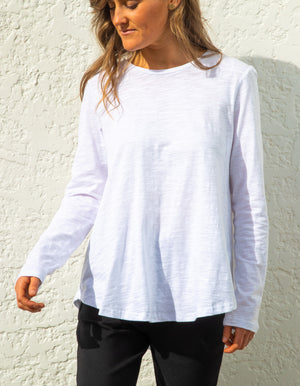 Carly long sleeve top in White