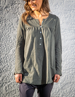 Belle button down top in Khaki