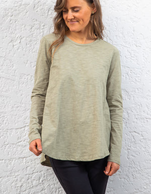 Carly long sleeve top in Khaki