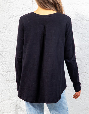 Carly long sleeve top in Black