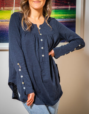 Belle button down top in Navy