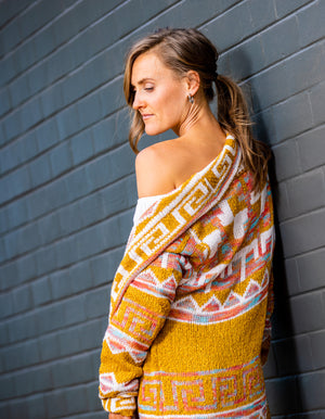 Set Me Up knit cardigan in Mustard print