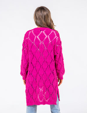 Met Somebody knit cardigan in Hot Pink