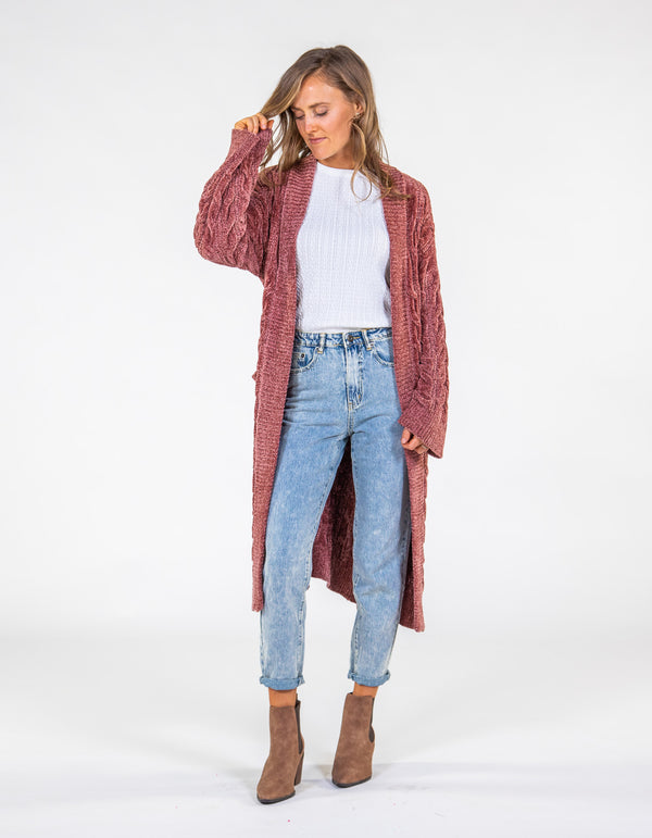 Love Life knit cardigan in Rust