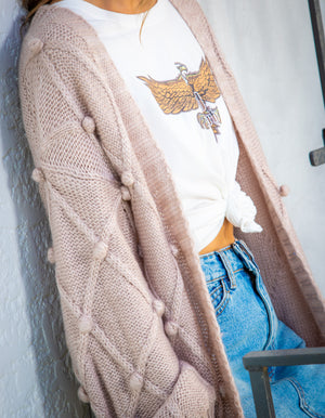 Ready to Escape knit cardigan in Blush