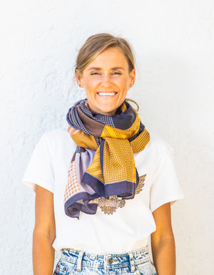 Bucharest scarf in Navy and Mustard print